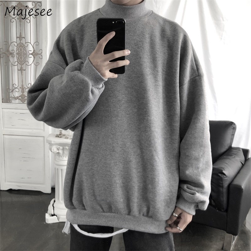 Hoodies Men Turtleneck Solid Velvet Winter Thickening High Quality Oversized 3XL Streetwear Hip-Hop All-match Daily Kpop Ulzzang