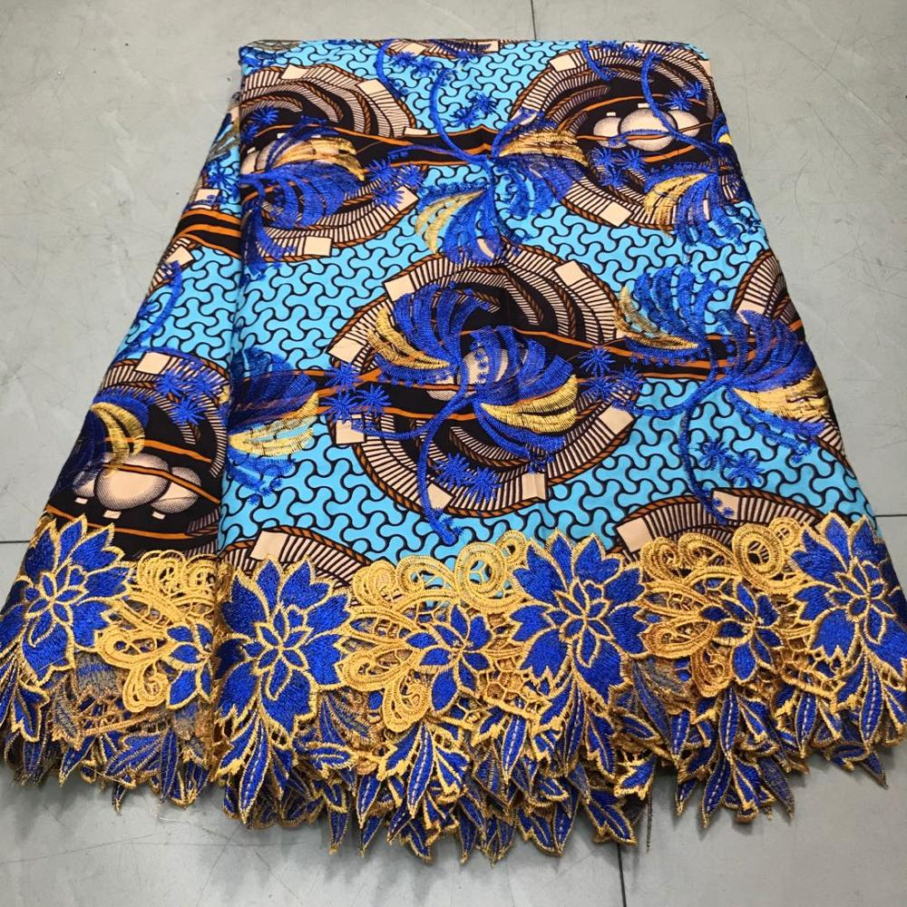 Embroideried Ankara Lace Wax Fabrics 6 Yards Cotton Nigerian Veritable Holland Wax Material African Wax Fabric Cloth For Women
