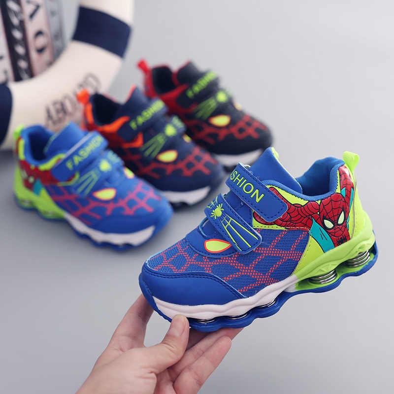 2019 spiderman princesa sapatos crianças sapatos casuais para meninas meninos tênis crianças sapato esporte ao ar livre tênis de corrida