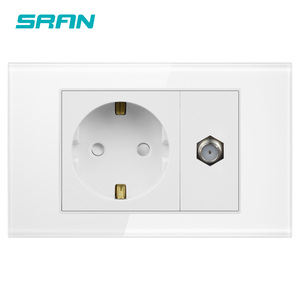 SRAN EU socket with satv socket sensor,with white pearl crystal glass panel 118mm*72mm satellite TV interface with power socket(China)