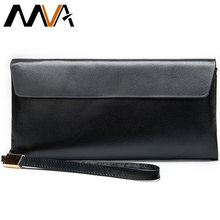 MVA Clutch Male Wallets Women Genuine Leather Wallets Female For Purses Men Long Slim Women/Mens Wallet Girl Money Bags Boy 8805(China)