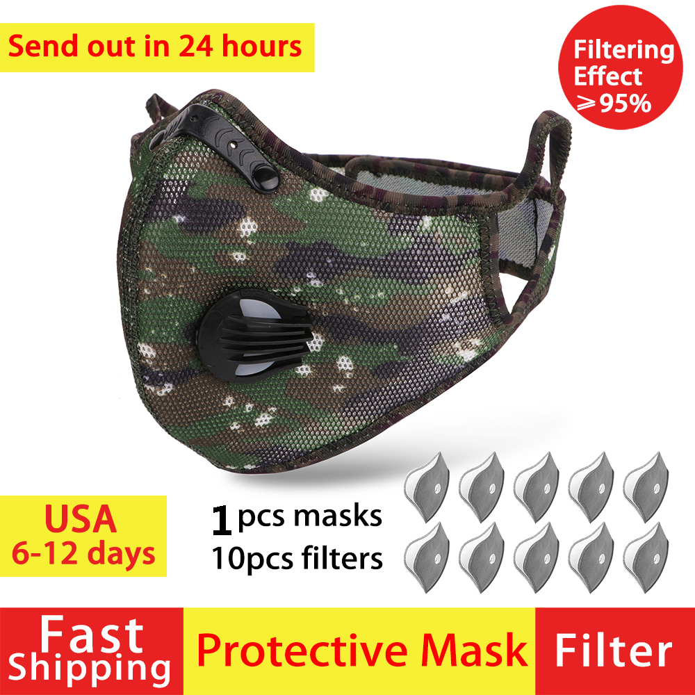 Reusable Masques Anti Pm25 Filter Pm2.5 Protective Face Masks Mouth For Mask Caps Respirator Facial Cloth Masks Protection Dust
