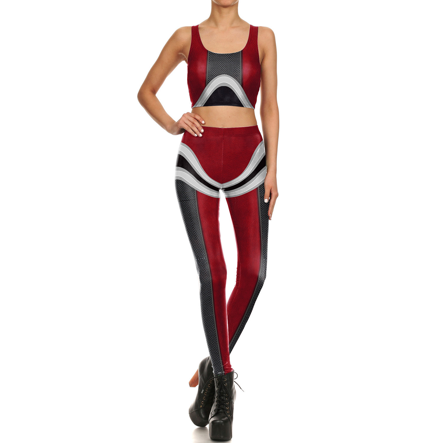 2018 Amazon Hot Selling Europe And America Mech Series Vest Leggings WOMEN'S Suit