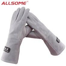 ALLSOME 35 см кожаные сварочные перчатки для сварочных аппаратов Tig/Mig/камин/плита/барбекю/садоводство/Сварочная маска/DIY деревообрабатывающие HT1583