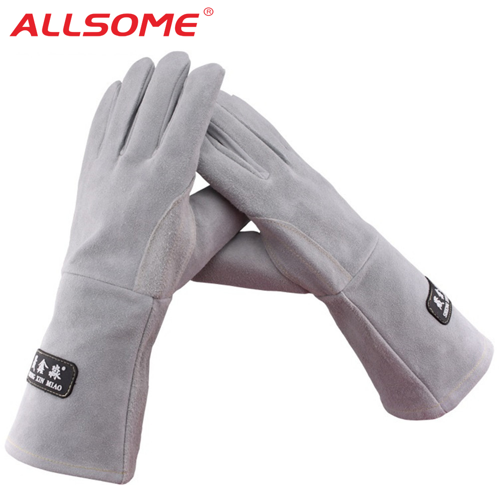 ALLSOME 35cm Leather Welding Gloves For Tig Welders/Mig/Fireplace/Stove/BBQ/Gardening/Welding Mask/DIY Wood Working HT1583