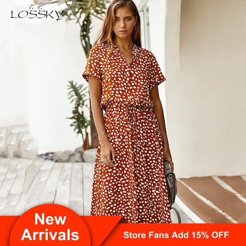 Платье с леопардовым принтом, женское летнее повседневное белое платье с коротким рукавом и пуговицами, Длинное Элегантное 2020, модная одежд...