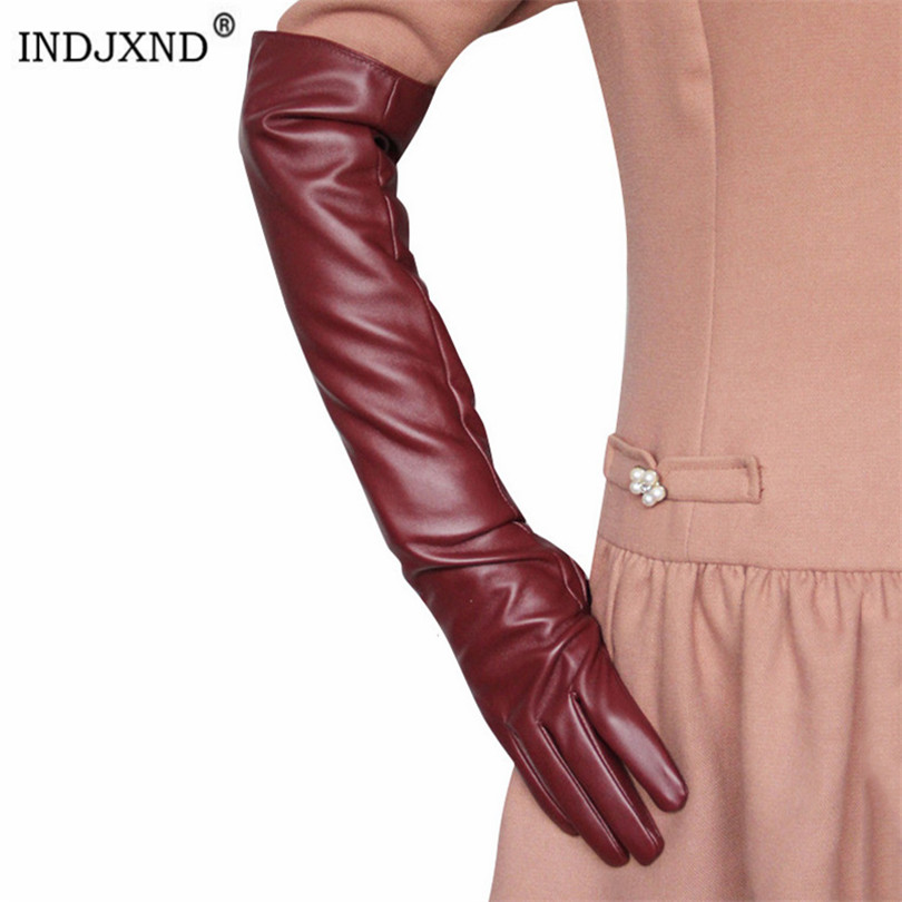 INDJXND Shiny Long Glove Women Ladies Adult Black Faux Leather Clubwear Mittens Spring Autumn Winter Arm Sleeve New Accessories