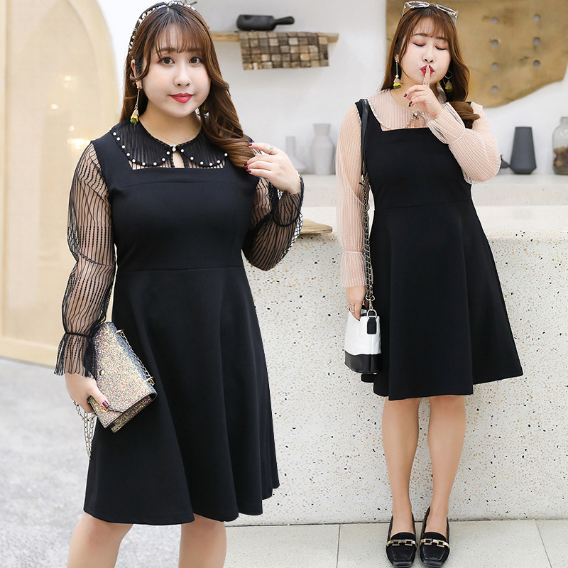 300 Large Size Dress Fat Mm Plus-sized Peter Pan Collar Mock Two-Piece French Platycodon Grandiflorum Full Body Dress 1688H