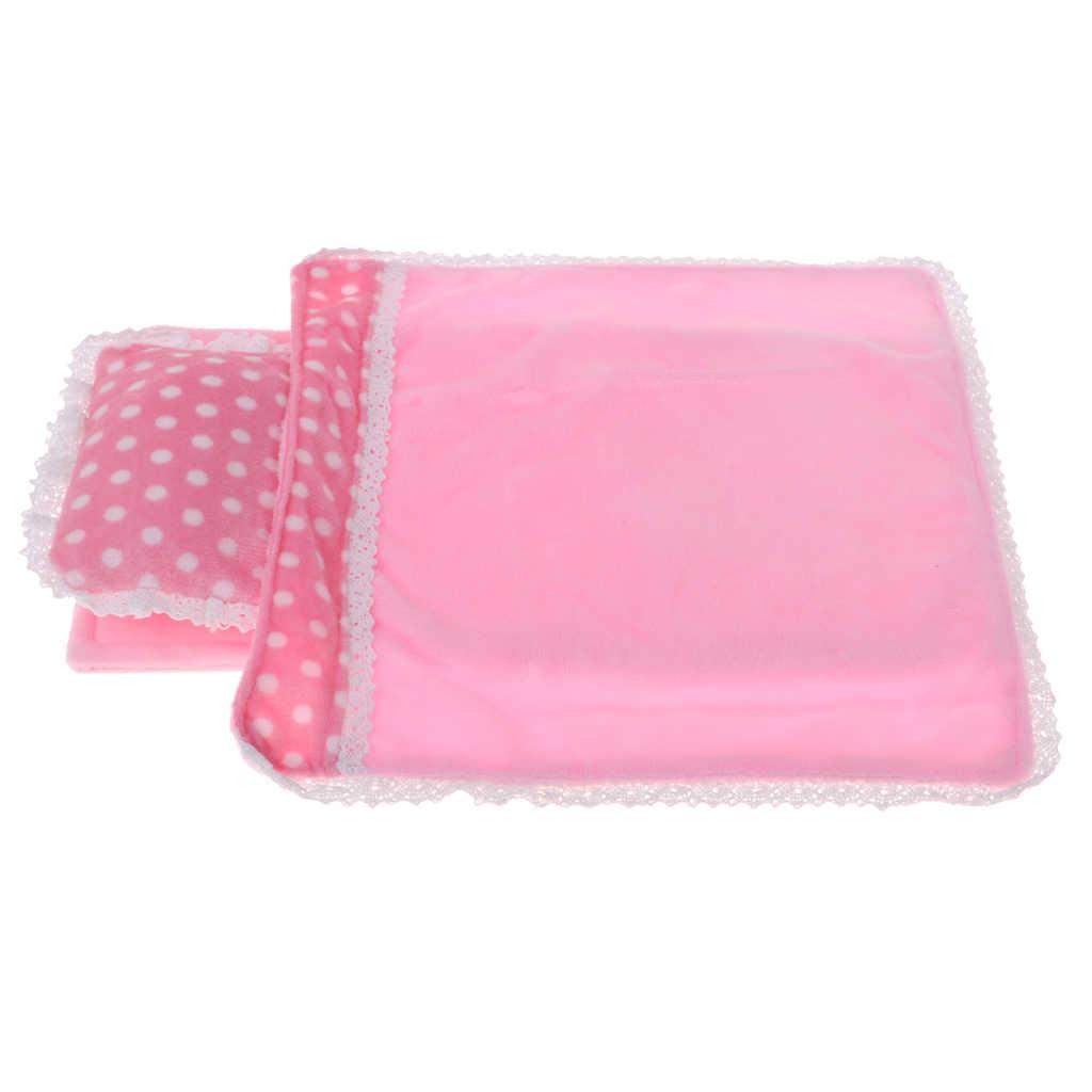 Pink Lace Bedding Set Pillow Sheet /& Comforter for Mellchan Dolls Bed Decor