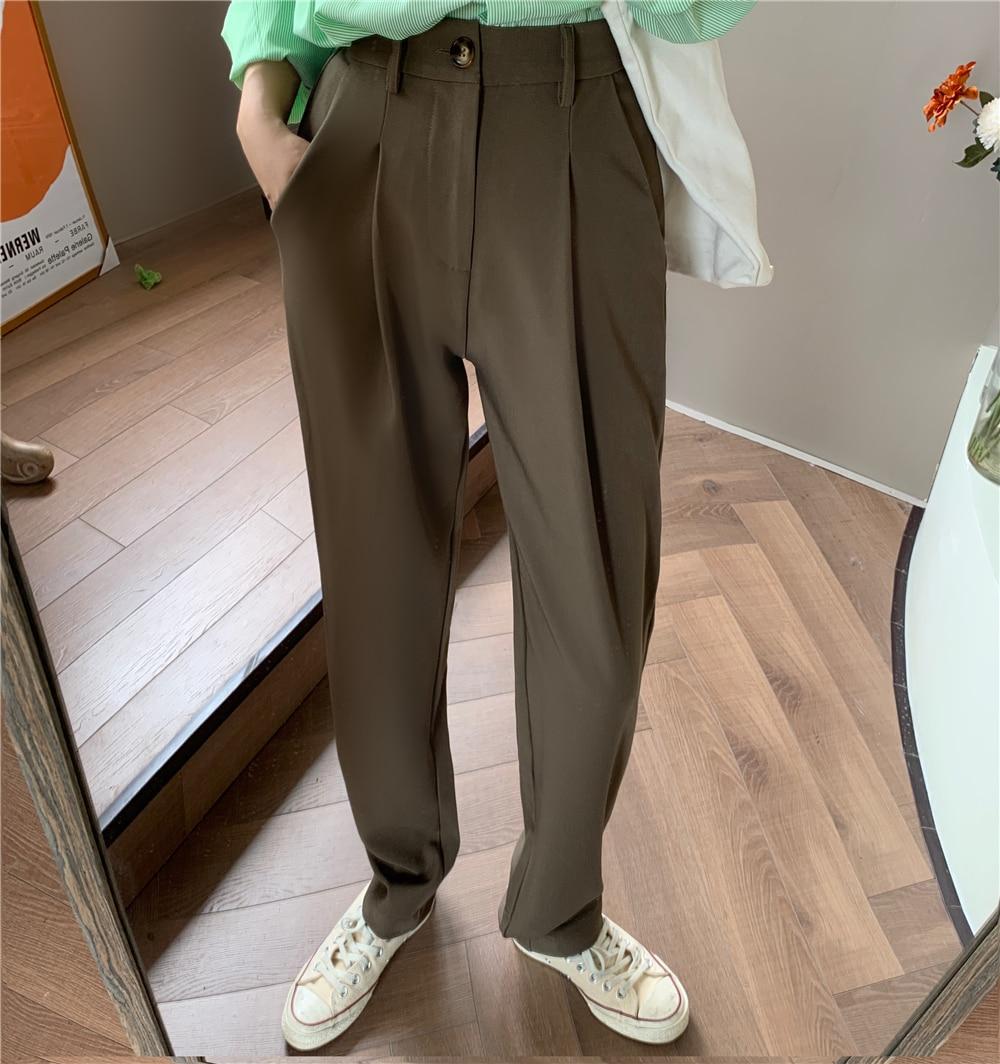 HziriP élégant formel taille haute Harem pantalon droit femmes bas 2020 nouveau automne OL solide mode ample costume pantalon femme