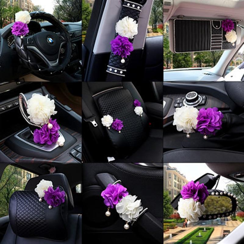 Sunflower Car Interior Decoration Sets Auto Seat Neck Waist Pillows Steering Wheel Covers Tissue box Gear Shifter Handbrake|Neck Pillow|Automobiles & Motorcycles - title=