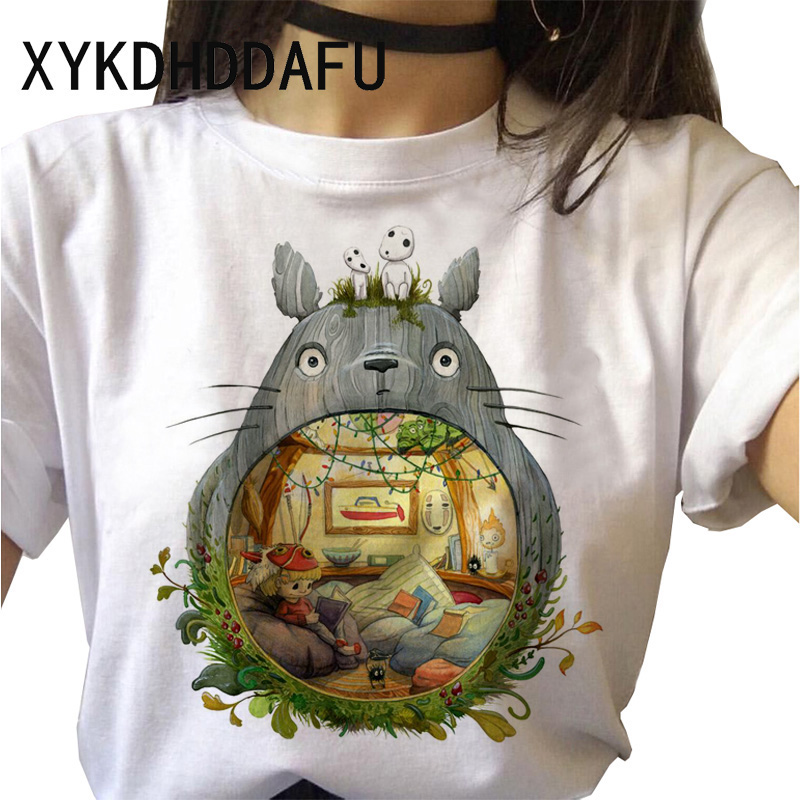 Hca21bc388bd0475e83dae58a1a51c550W - Totoro T Shirt Women Kawaii Studio Ghibli Harajuku Tshirt Summer Clothes Cute Female ulzzang T-shirt Top Tee japanese Print