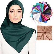 Foulard hijab malaisien en soie mélangé, écharpe carrée, châle et enveloppe, vêtements islamiques pour femmes musulmanes, 90x90cm