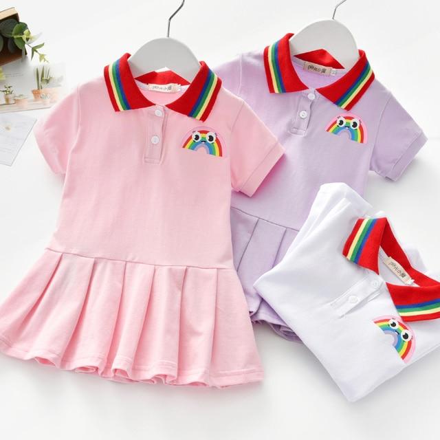 Unicon sukienka dla dzieci wiosna lato skręcić w dół kołnierz ubrania dla dzieci moda maluch dziewczynek odzież letnia sukienka dziewczyna