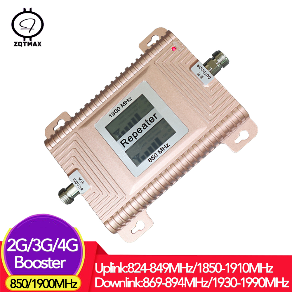 ZQTMAX 2g 3g 4g Mobile Signal Booster 850 (B5) 1900 (B2) Cellular Amplifier LTE UMTS Repeater CDMA PCS Dual Band