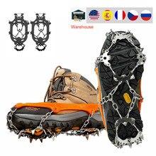 18 зубьев, снежные скобы для льда, Нескользящие захваты для скалолазания, чехлы для обуви, шипы, скользящие Чехлы для обуви из нержавеющей ста...