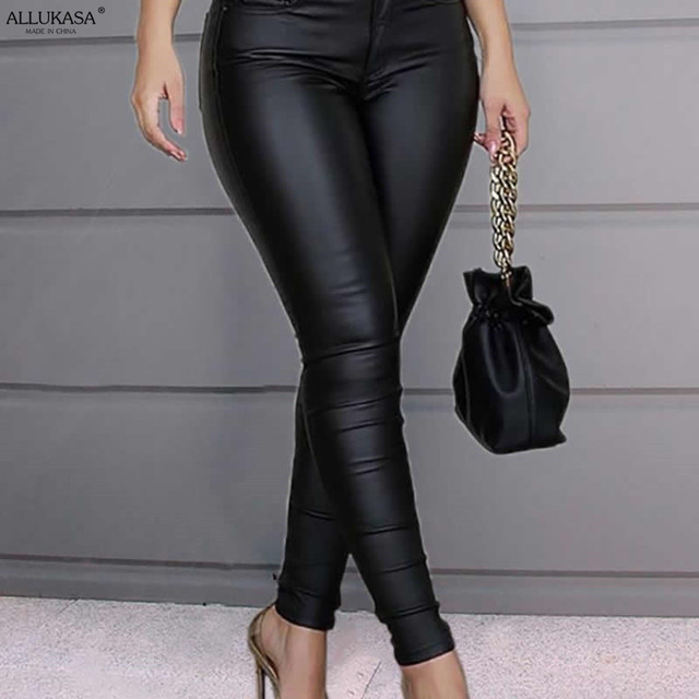 Spring Women Pu Leather Pants Black Sexy Stretch Bodycon Trousers Women High Waist Long Casual pencil pants top S-3XL plus size 3