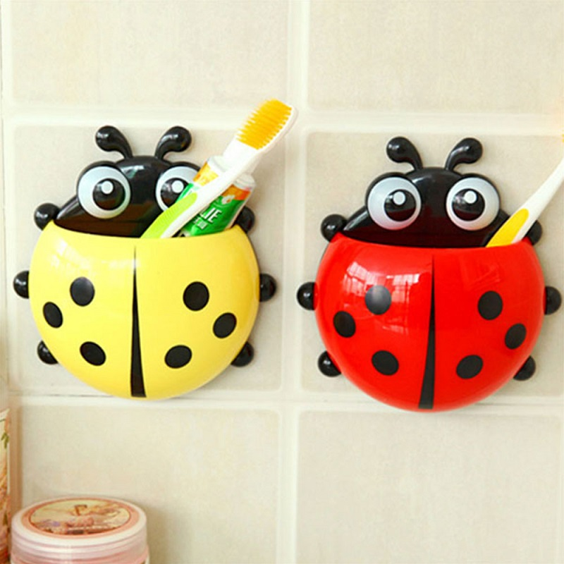 Creative Ladybug 4 Color Toothbrush Cup Holder Storage Rack Organizer Strong Suction Cup PVC Wall Mount For Bathroom Accessories