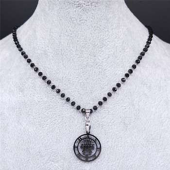 Astaroth Sigil Goetia Crystal Bead Stainless Steel Necklace Solomon Demon Seal Satan Sigil satanique patch PIN Jewelry N3034S02 image