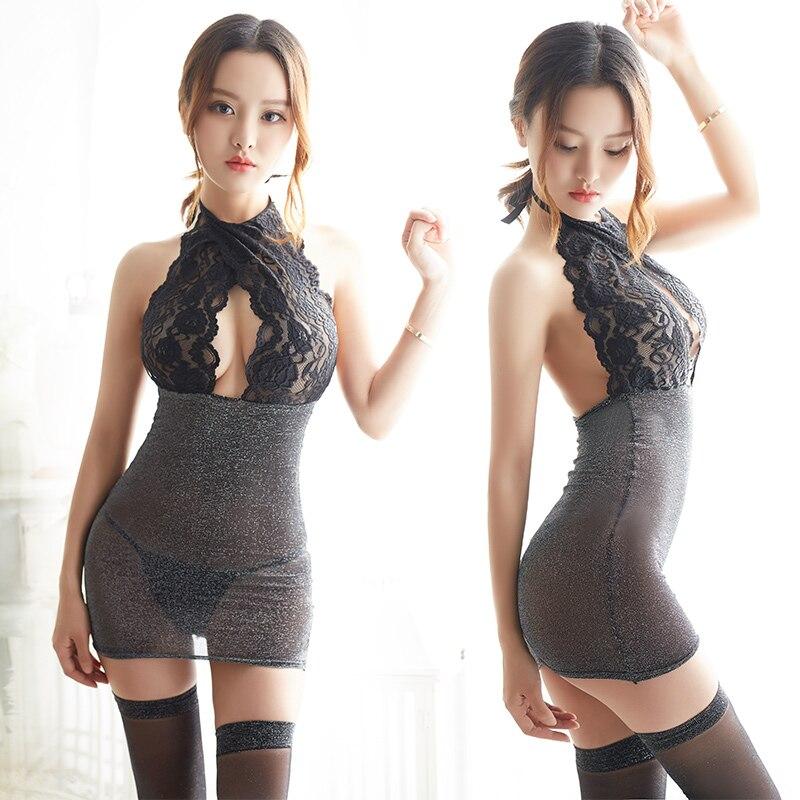 Porn Sexy Lingerie Exotic Apparel Women Baby Dolls Dress Sex Costumes Hollow Nightwear Intimates Half slip Backless Underwear