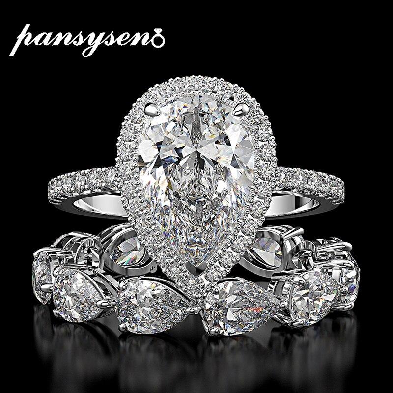 PANSYSEN Top Marke Redion Cut Erstellt Moissanite Diamant Hochzeit Ring Sets Solide 925 Sterling Silber Schmuck Ringe für Frauen
