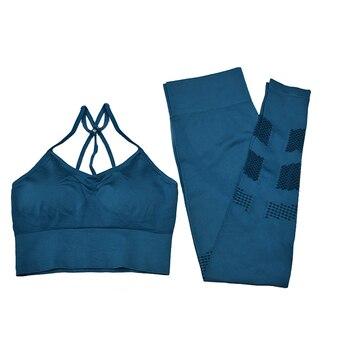Conjunto de Yoga para mujer, entrenamiento, gimnasio, ropa deportiva, traje de 2 piezas, camisas sin costuras + Leggings para entrenamiento, ropa de mujer, chándal para mujer