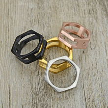 New design Men Women Punk Black Plated Simple Hexagon Shape Finger Ring ,stainless steel Geometric Design Jewelry,wholesale