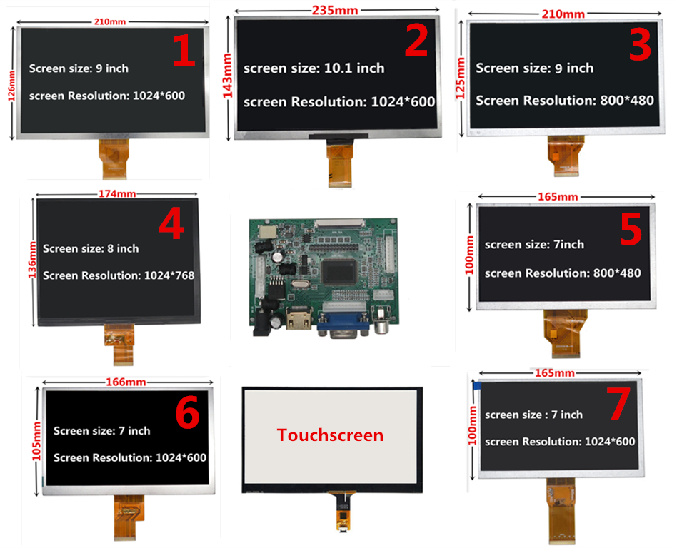 7/8/9/10.1 polegada 1024*600 tela lcd com hdmi vga driver board monitor para raspberry pi banana/laranja pi mini computador