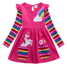 Little Pony Autumn Girl Long Sleeves Dress Baby Clothes Lovely girl cotton dress Rainbow Cartoon Children dress for girl LH6010