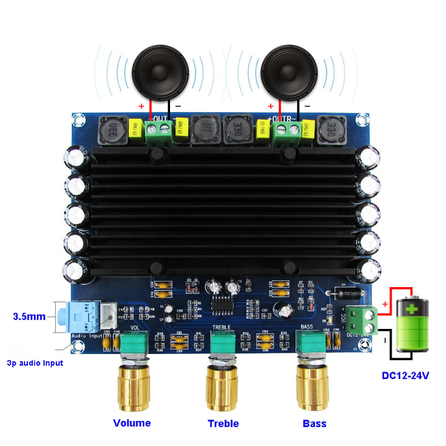 2*150W 2.0 TPA3116D2 Power Amplifier Board Digital Audio Stereo Class D TL0741 TPA3116 amplifiers with Tone Amplificador