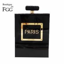 Boutique De FGG Women Fashion Clutches Purse Perfume Bottle Crossbody Shoulder Bags Laides Black Acrylic Box Clutch Evening Bag