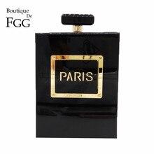 Butik De FGG kadın moda manşonlar çanta parfüm şişesi Crossbody omuz çantaları Laides siyah akrilik kutu debriyaj akşam çanta