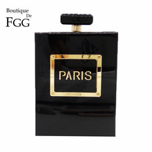 בוטיק דה FGG נשים אופנה ציפורני ארנק בושם בקבוק Crossbody כתף שקיות Laides שחור אקריליק תיבת מצמד ערב תיק