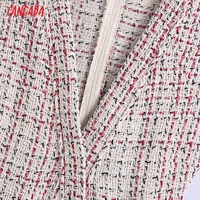 Tangada 2021 Autumn Winter Women Ruffles Tweed Dress V Neck Back Zipper Females Mini Dresses Vestidos BE102 2