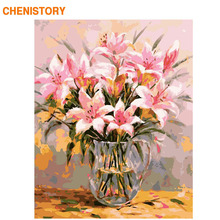CHENISTORY Frame Picture Lily Flowers DIY Painting By Numbers Modern Wall Art Picture By Numbers Acrylic Paint For Home Decors