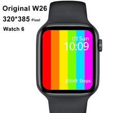 Original w26 1.75 2021 relógio inteligente masculino feminino 44mm 40mm toque completo de fitness rastreador ip67 à prova dip67 água smartwatch para xiaom iphone