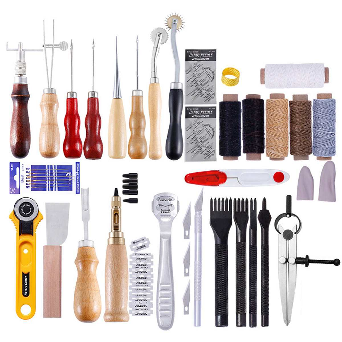 18PCS Leather Craft Tools Kit Set For Hand Stitching Sewing Punch Carving Work