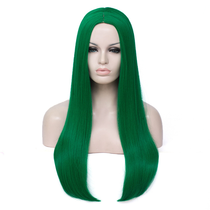 Image 3 - VICWIG 24 Inch Long Straight Hair Red Silver Black Grey White Blonde Green Wig Synthetic   Middle Part Women WigsSynthetic None-Lace  Wigs   -