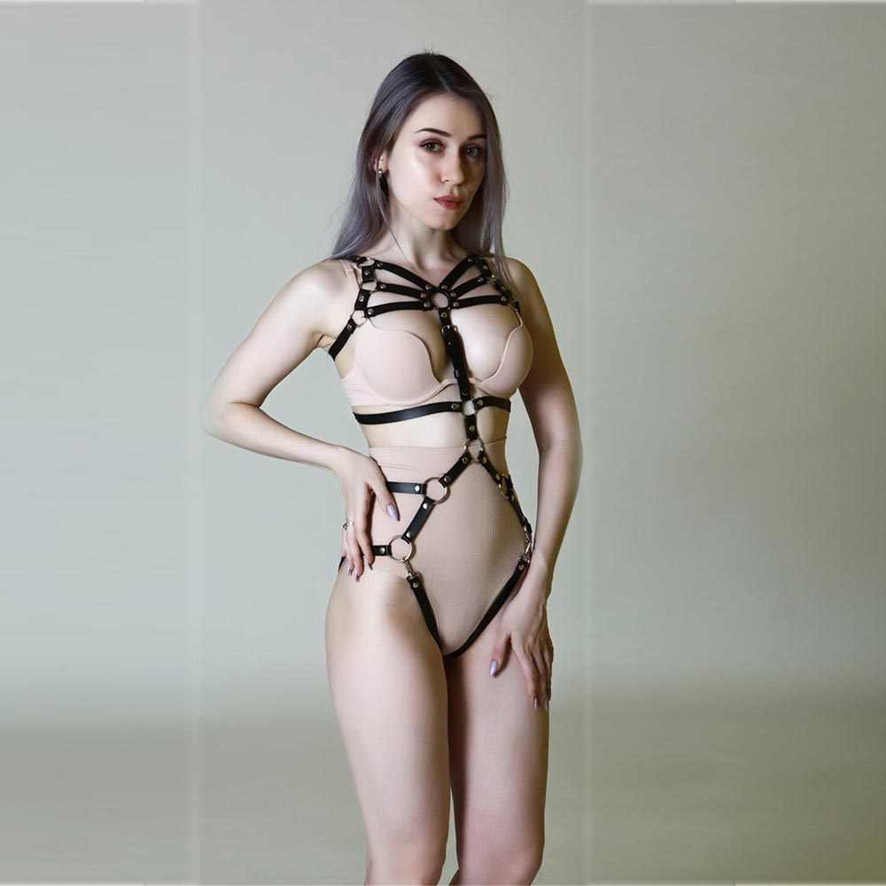 Leather Harness Underwear Set Garter Belts Sexy Women Waist To Leg Bondage Cage Straps Bra Garter Body Belts Lingerie Suspender