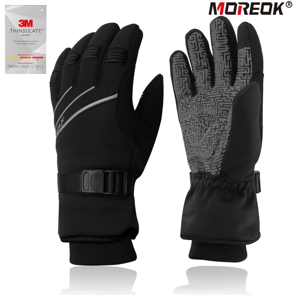 MOREOK 3M Thinsulate Full Finger Warm Ski Gloves  Touchscreen Winter Cycling Gloves Reflective Biking Driving Gloves Men Women