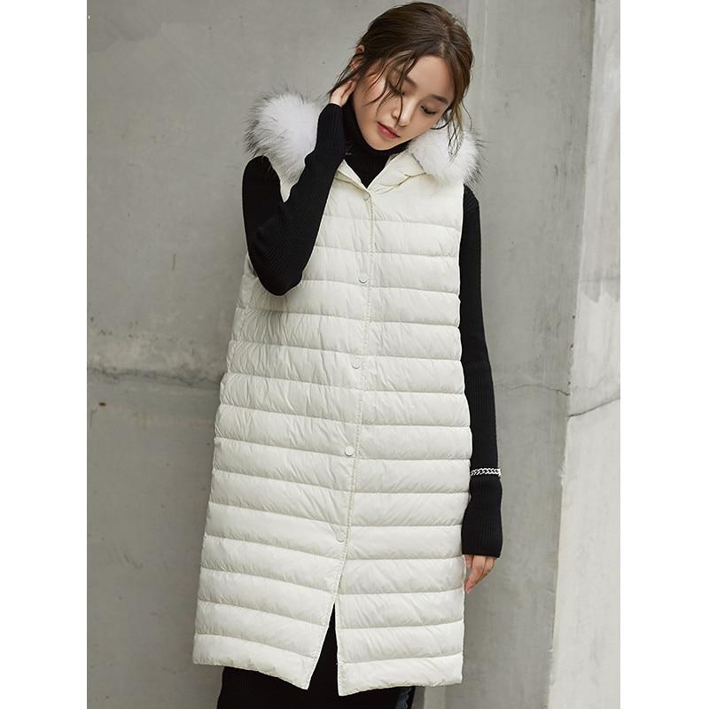 Duck 90% Down Vest Women Clothes 2020 Winter Coat Women Raccoon Fur Collar Sleeveless Jacket Korean Vests Gilet MY1532 S