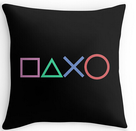 Black Art Design Playstation Buttons Throw Pillow Case Novelty Gaming Decorative Cushion Cover Cool Game Gamer Gifts Home Decor