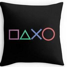 Diseño de Arte Negro Playstation botones funda de almohada novedosa funda de cojín decorativo para juegos Cool Game Gamer regalos decoración para el hogar