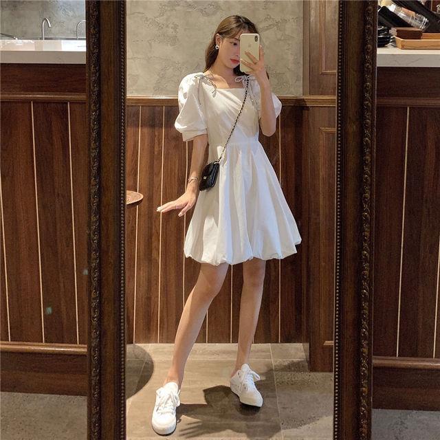 Summer Mini Dress Women White Puff Sleeve Korean Style Fairy Dress Bows Chiffon Japan Style Kawaii Elegant Vintage Party Dress 6
