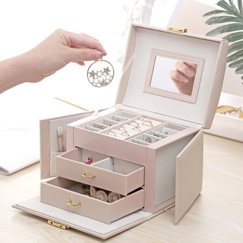 Jewelry Box Mirrored Large Capacity Jewelry Casket Makeup Organizer Earring Holder Makeup Storage Gift Boxes