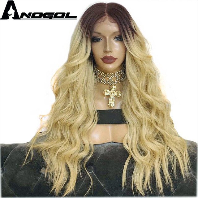 """Anogol Dark Roots Ombre Blonde Long Body Wave 24"""" Heat Resistant Hair Wig Synthetic Lace Front Wigs For Black Women"""