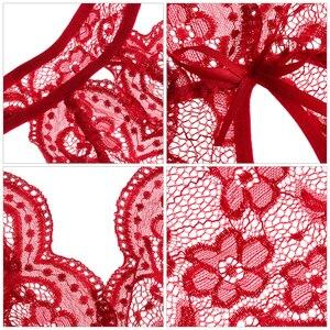 Женское нижнее белье Babydoll, сексуальное прозрачное кружевное белье с открытой промежностью