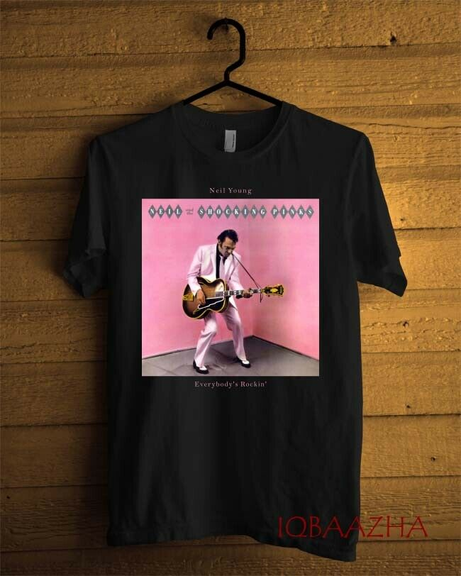 Neil Young - Everybody's Rockin Album T-shirt Black Men Custom Size S-2xl Short Sleeve 100% Cotton Man Tee Tops image
