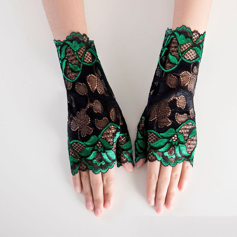 Green Sunblock Fingerless Bridal Short Silver Lace Gloves Fingerless Floral Gloves For Women Bride Prom Gloves ST330