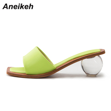 Aneikeh 2020 Summer Fashion Women Sandals Square head Peep Toe Perspex Heel Round heel High Heels Sandals Dress Lady Shoes 42 43